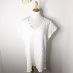 J.Crew Factory White Pom Pom Tunic Coverup